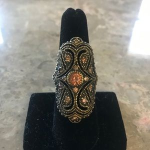 Large Brass and Crystal Ring Size 7.5